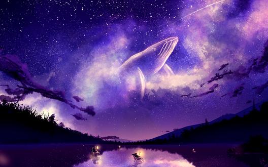 Обои Мыши, плывущие в чашках по реке, наблюдают за китом в ночном небе, by JonnyCupCake