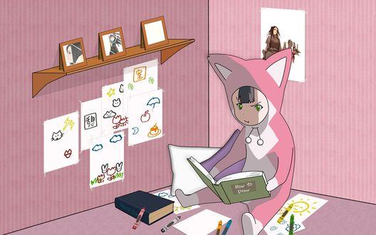 Обои Девочка-робот Pino / Пино в розовом комбинезоне сидит в своей комнате и смотрит в книгу, аниме Ergo Proxy