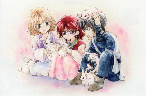 Обои Yona, Hak и Soo-won играют с крольчатами из аниме Akatsuki no Yona / Рассвет Йоны, art by Mizuho Kusanagi