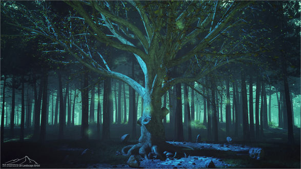 Обои Светящиеся бабочки парят вокруг дерева, by 3DLandscapeArtist
