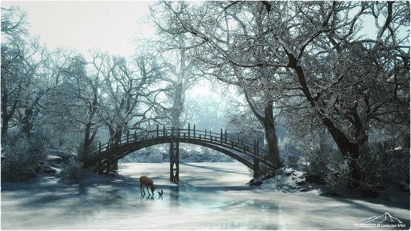 Обои Белка и олененок на льду замерзшей реки, by 3DLandscapeArtist