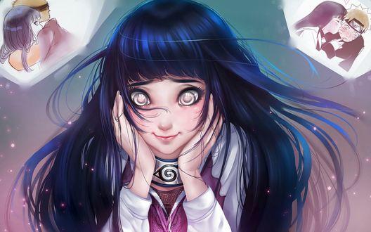 Обои Хината Хьюга / Hinata Hyuga думает о Наруто Узумаки / Naruto Uzumaki из аниме: Наруто / Naruto
