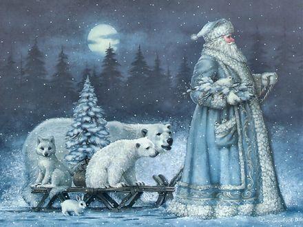 Обои Дед Мороз и животные с елкой, художница Elizabeth Goodrick-Dillon