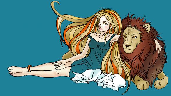 Обои Светская львица в обнимку со львом на зеленом фоне