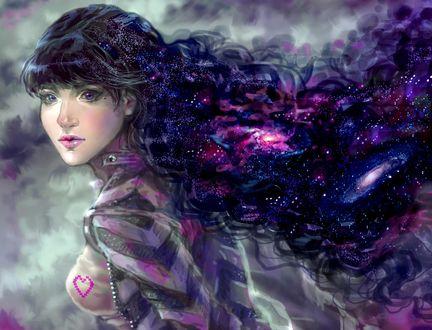 Обои Девушка с космосом в волосах, by Sillselly
