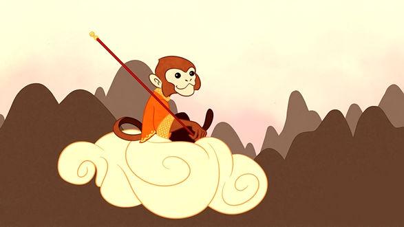 Обои Царь обезьян летящий на облаке, для привлечения процветания, любви, богатства, здоровья