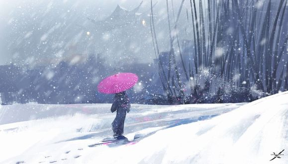 Обои Девушка с розовым зонтом под снегопадом, ву Wlop