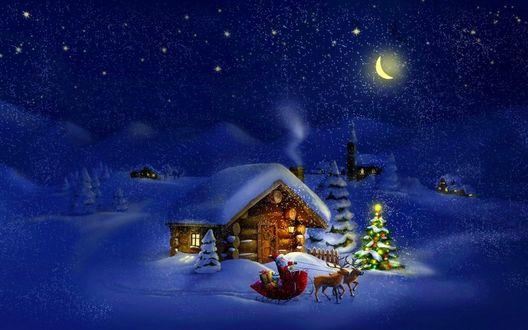 Обои Дед Мороз в санях с оленями в Новогоднюю ночь развозит подарки