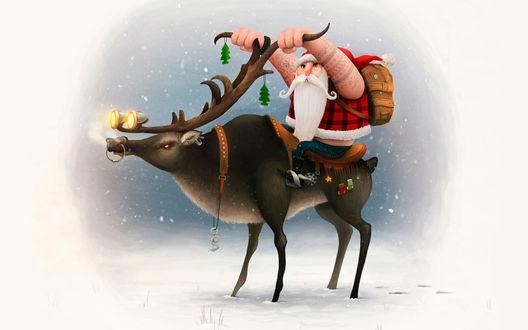 Обои Санта на олене