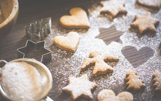 Обои Праздничные печеньки в сахарной пудре