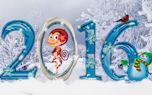 Обои Обезьянка поздравляет с Новым 2016 годом