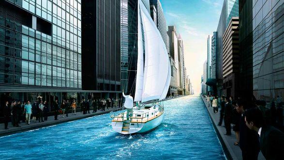 Обои Яхта под белыми парусами плывет по улице большого города