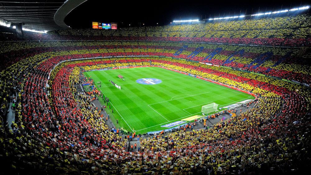 Oboi Stadion Kamp Nou Barselona Ispaniya Na Rabochij Stol