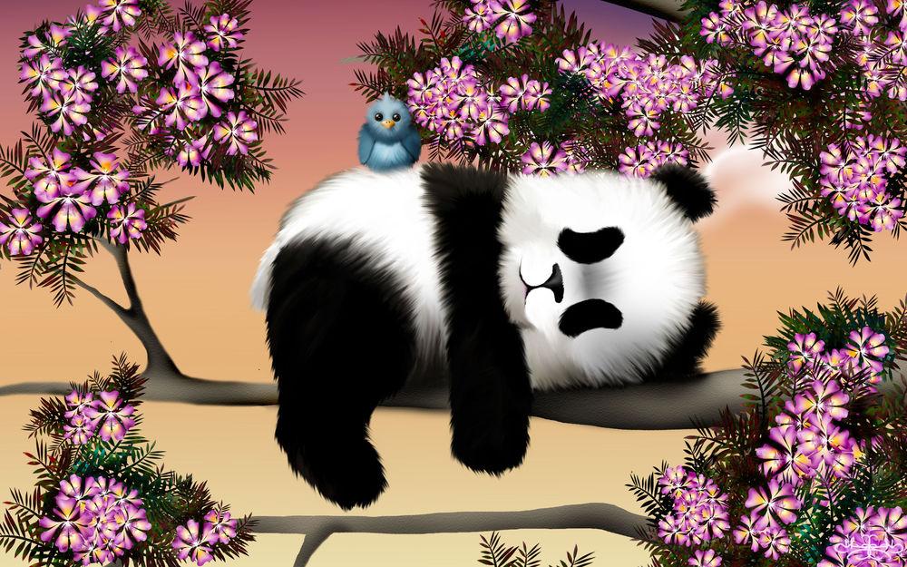 Обои для рабочего стола Панда с птичкой на весеннем дереве, by Hazey1988