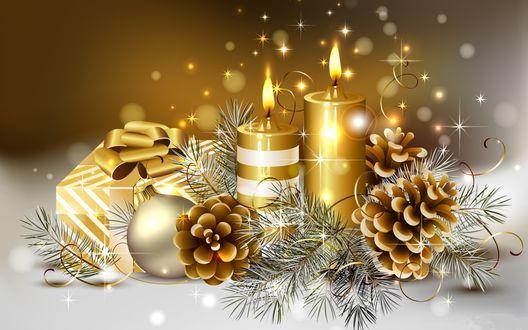 Обои Праздничные свечи стоят на белой поверхности рядом с шишками, подарком и шариками, С наступившим 2016 годом!