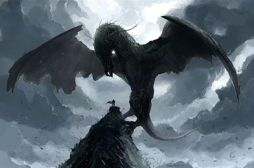 Обои Огромный крылатый дракон смотрит на человека, стоящего на вершине скалы, на фоне мрачного неба