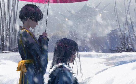 Обои Девушка с розовым зонтом стоит рядом с парнем, ву Wlop