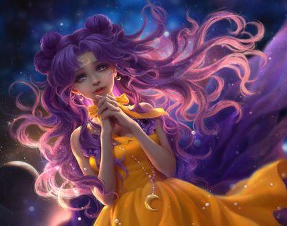 Обои Луна / Luna из аниме Сейлор Мун / Sailor Moon, by sunmomo