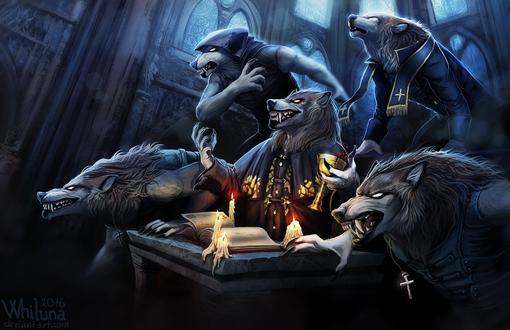 Обои Работа Blessed and Possessed / Благословенны и одержимы, чудовищные волки за столом, by Whiluna