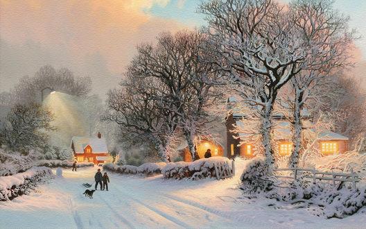 Обои Зимний вечер в деревне