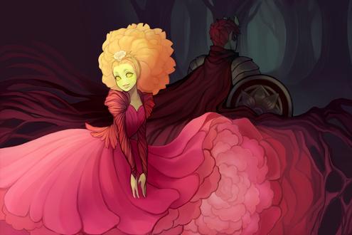 Обои Девушка в пышном розовом платье и рыцарь позади нее