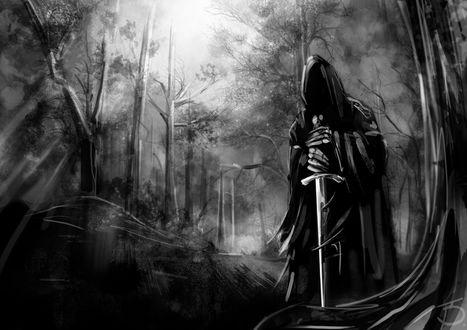 Обои Черный рыцарь с мечем стоит по среди мрачного леса, Nazgul Ghost