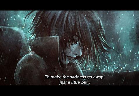Обои Грутсная девушка-ангел под дождем, by NanFe (To make the sadness go away, just a little bit.)