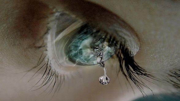 Обои Слеза капает с человечьего глаза