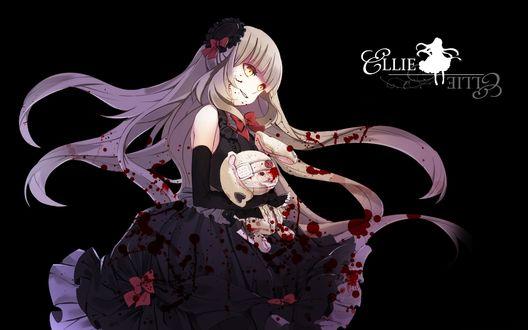 Обои Vocaloid Mayu / вокалоид Майю, запачканная кровью, держит в руках игрушечного зайца, art by Yuuki Kira
