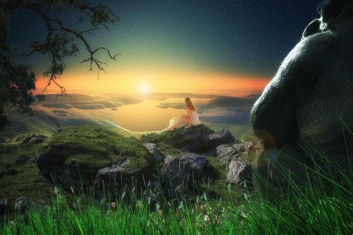 Обои Девушка и Годзилла наблюдают за закатом, by apelaths