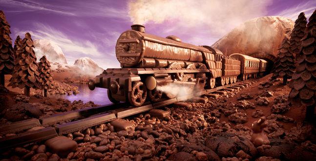 Обои Шоколадный поезд мчится по шоколадной дороге через вкусный лес работа Карл Уорнер (Carl Warner)