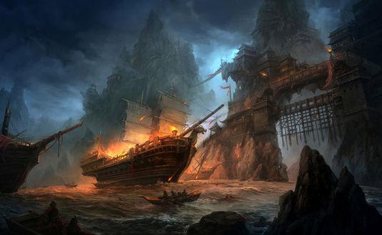 Обои Крушение пиратского корабля