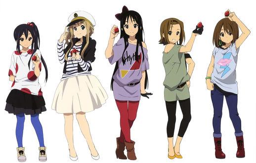 Обои Адзуса Накано / Azusa Nakano, Цумуги Котобуки / Tsumugi Kotobuki, Мио Акияма / Mio Akiyama, Рицу Тайнака / Ritsu Tainaka, Юи Хирасава / Yui Hirasawa, аниме K-On!