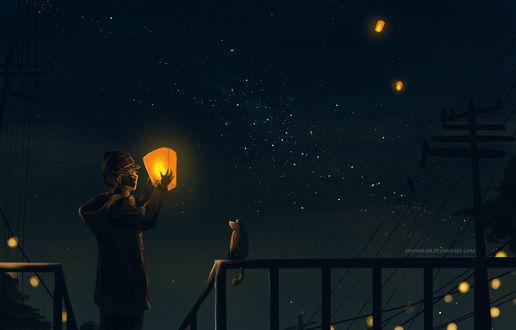 Обои Мальчик стоит с фонарем перед обезьяной