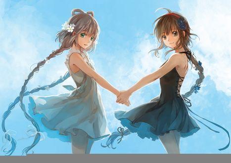 Обои Вокалоиды Luo Tiianyi и Yuezheng Ling держатся за руки, art by Feng You