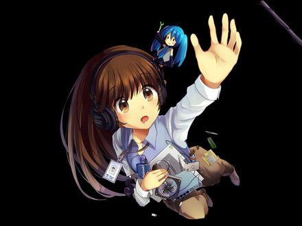 Обои Vocaloid Hatsune Miku / Вокалоид Хатсуне Мику и девочка в наушниках пытаются что-то поймать, art by Bisonbison