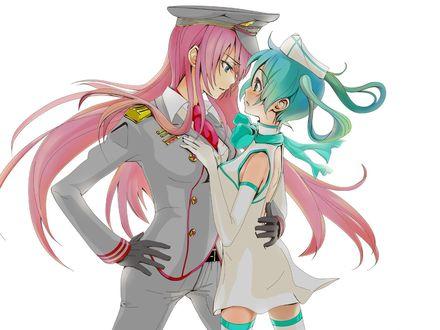 Обои Vocaloid Hatsune Miku / Вокалоид Хатсуне Мику в форме медсестры и Мегурин Люка / Megurine Luka в парадной военной форме