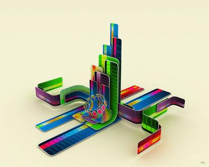 Обои Неоновый город 3D абстракция