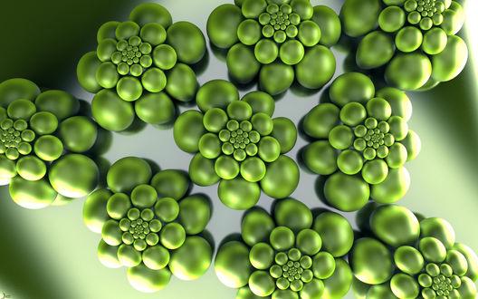 Обои Фрактальная 3d абстракция из зеленых шариков