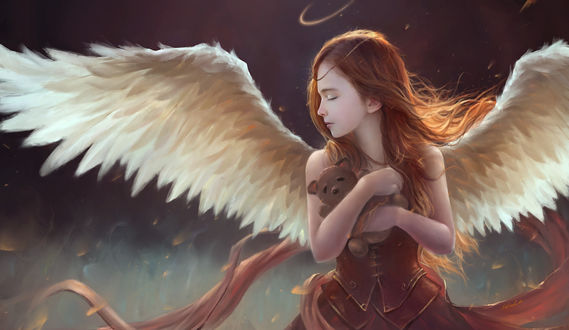 Обои Девочка - ангел с игрушечным мишкой