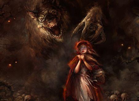 Обои Красная шапочка и волк-оборотень, ву Blaz Porenta