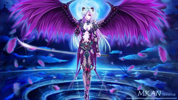 Обои Девушка демон стоит на воде, by Mikan Tentative