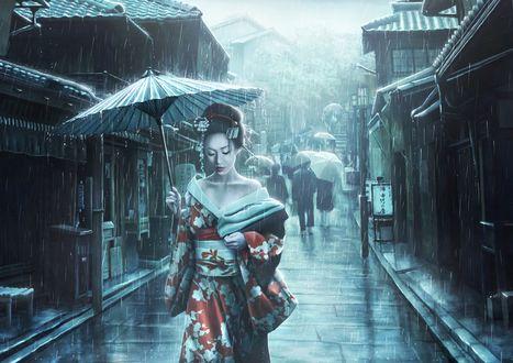 Обои Девушка в японском наряде с зонтом идет под дождем, by MGruszka