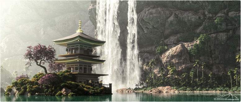 Обои Пагода на берегу моря, by 3DLandscapeArtist