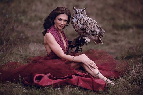 Обои Девушка в темно-бордовом открытом платье сидит с филином на руке и смотрит на нас, фотограф Анна Котлярова