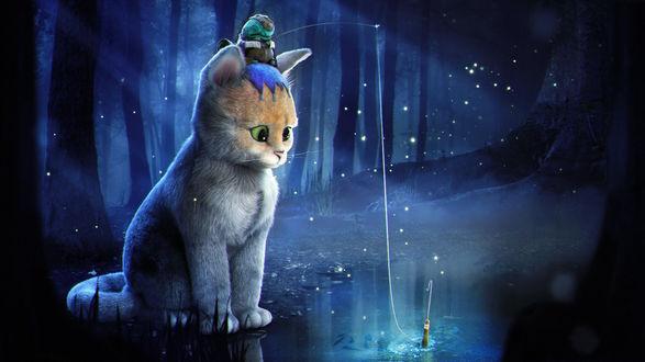 Обои Кот с сидящим на голове фантастическим животным с удочкой