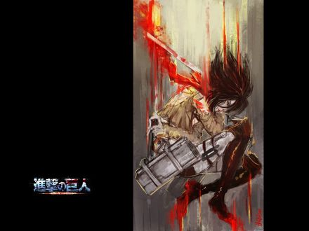 Обои Микаса Акерман / Mikasa Ackerman из аниме Вторжение гигантов / Shingeki no Kyojin