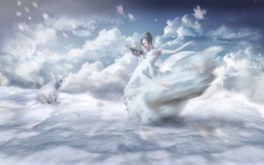 Обои Девушка стоит на облаках и держит в руке корабль, недалеко от нее сидит белый медведь