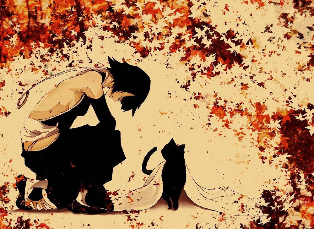 Картинки аниме девушка осень