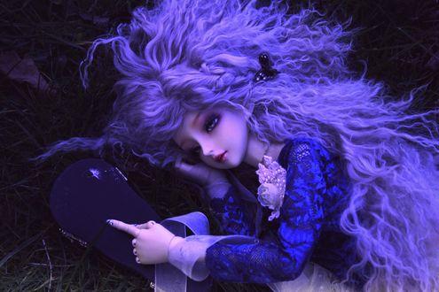 Обои Кукла с растрепанными волосами лежит на траве и держит в руках футляр от скрипки